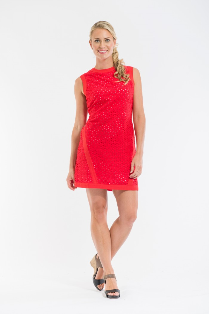 OQ Broderie Shift Dress with Trim