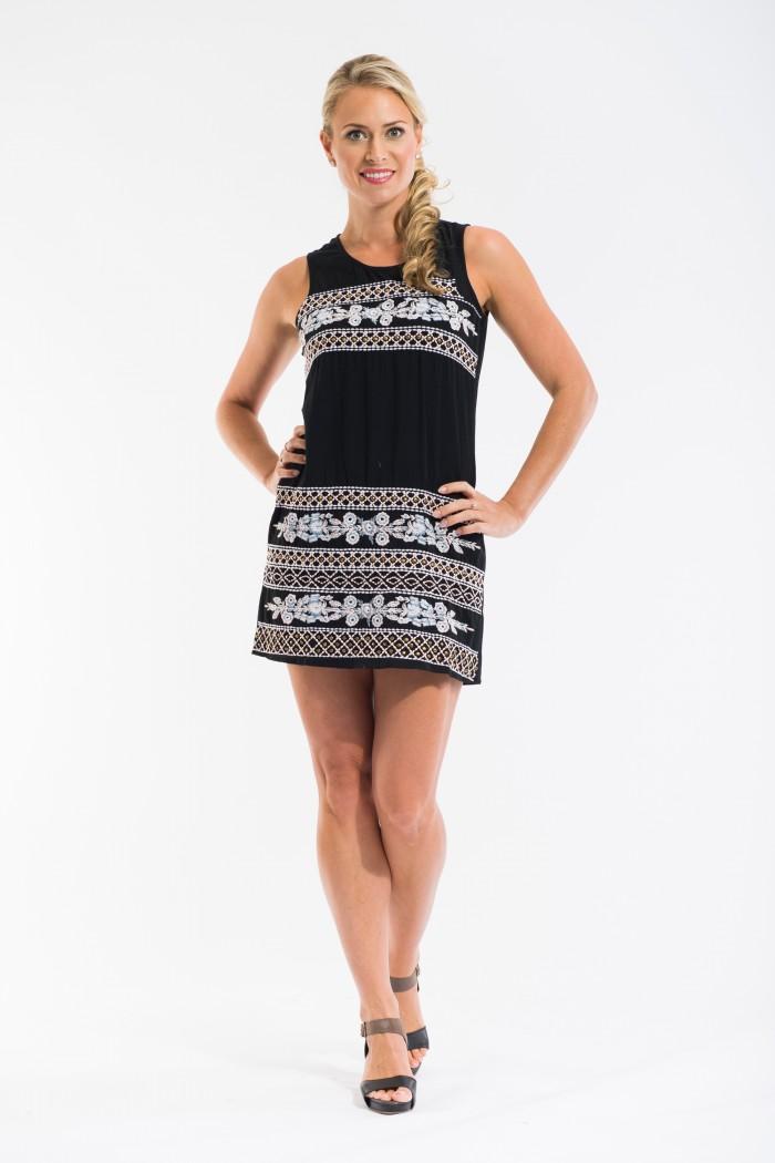 OQ Embroidered Shift Dress