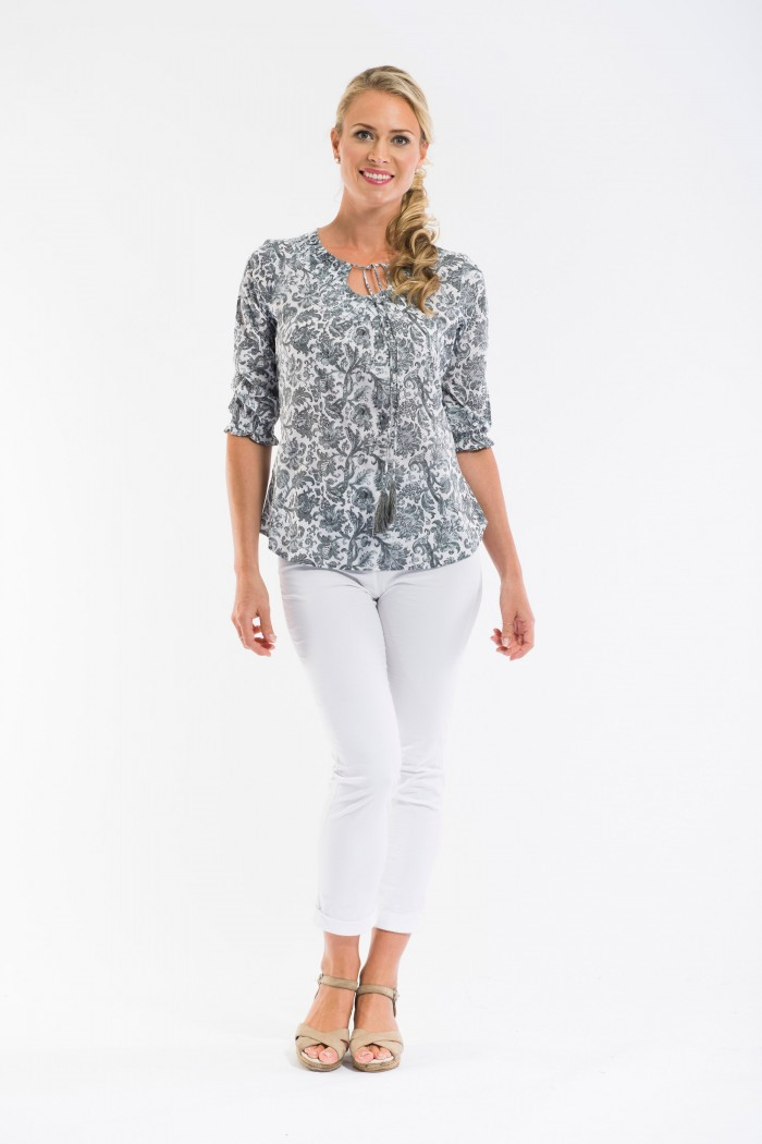 OQ Boho Top 3/4 Sleeve