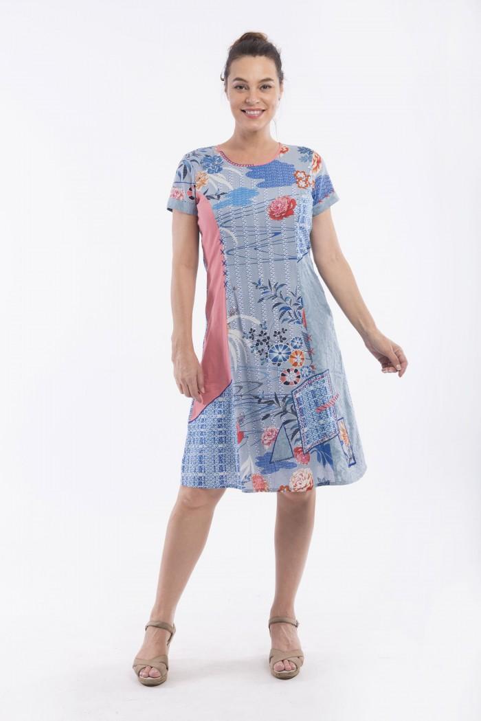 OQ CAP SLEEVE PATCH DRESS