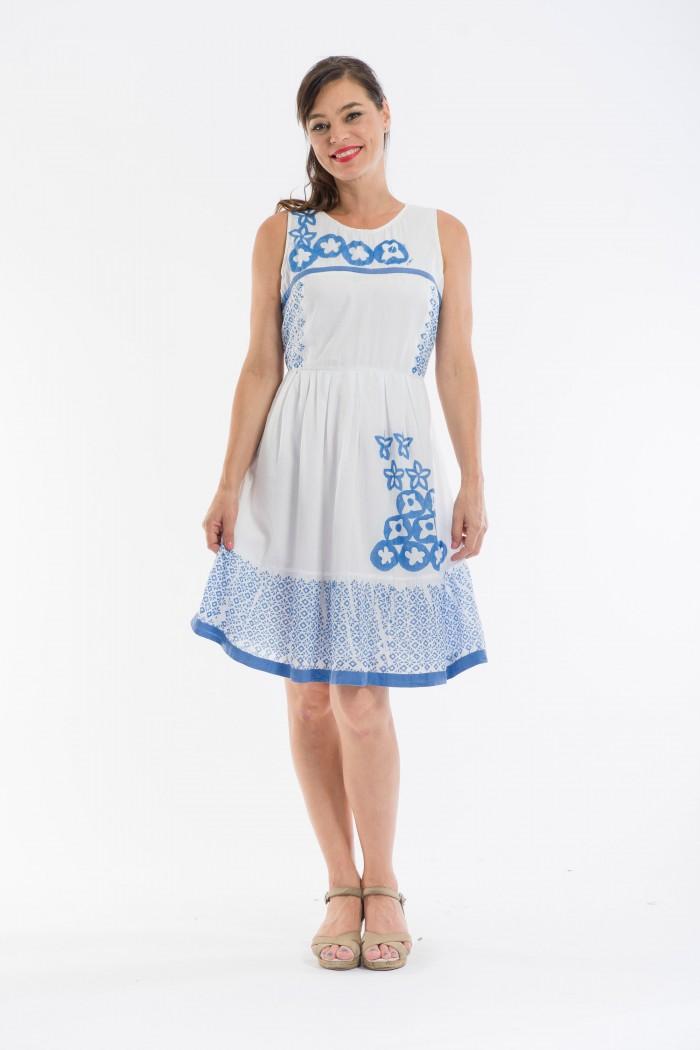 OQ Block Printed Box Pleat Dress