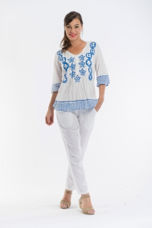 OQ Block Printed Overblouse