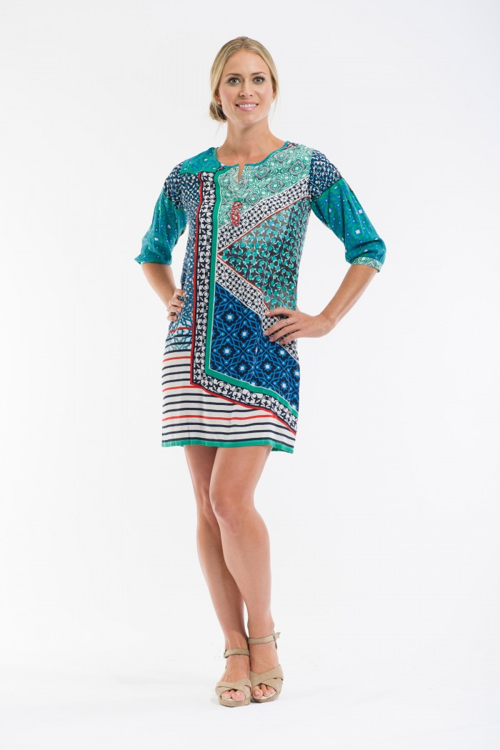 OQ Shift Dress 3/4 Sleeve