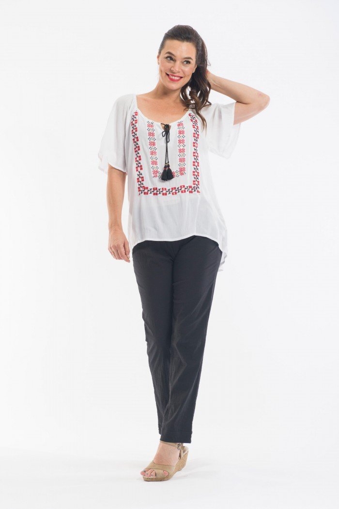 OQ Embroidered Boho Top