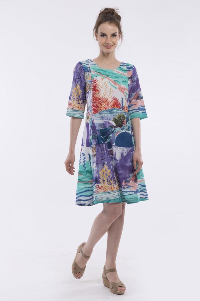 OQ 3/4 SLEEVE PANELLED DRESS