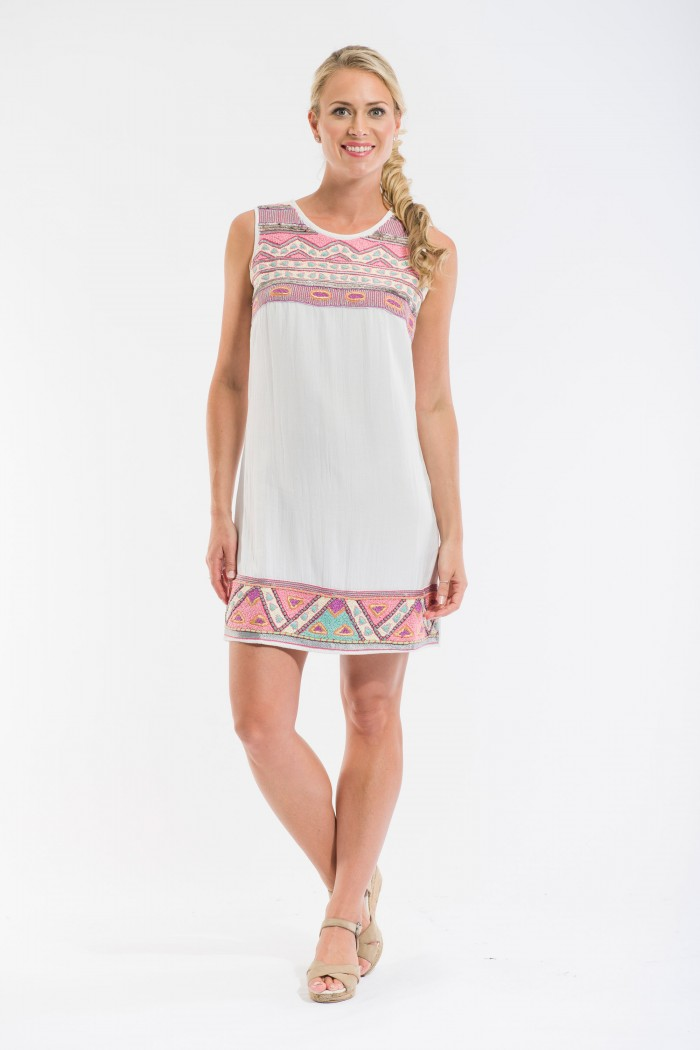 OQ Hand Embroidered Shift Dress