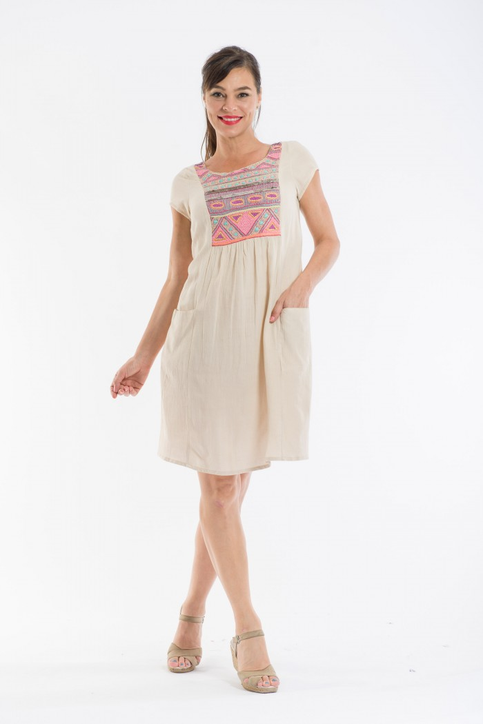 OQ Hand Embroidered Shift Dress Pockets