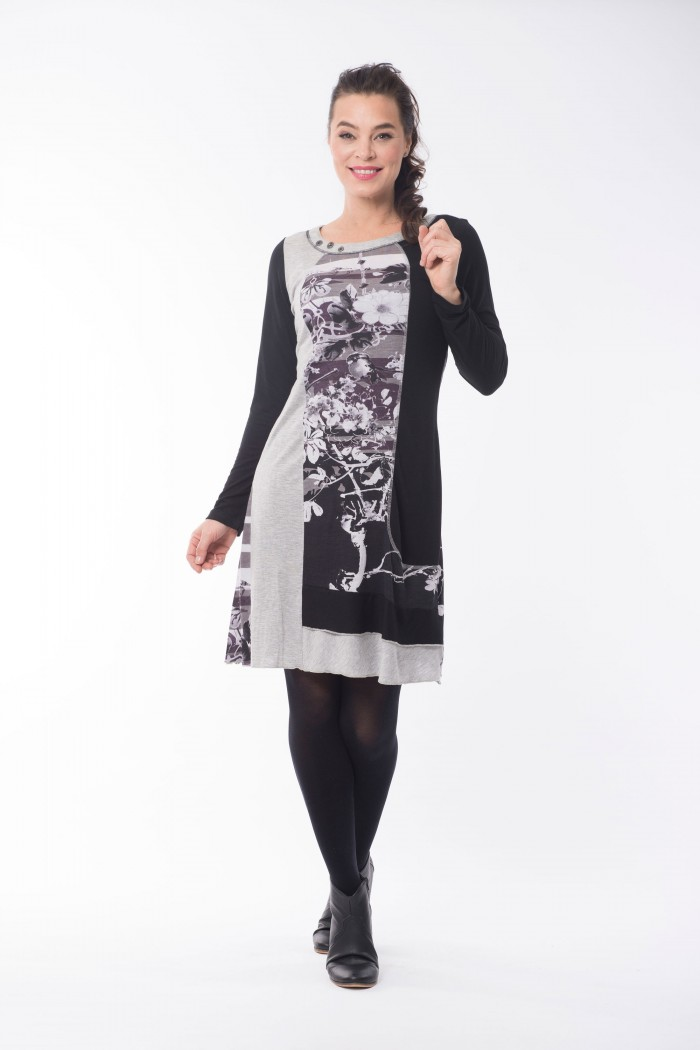 OQ Dress Long Sleeve Frill