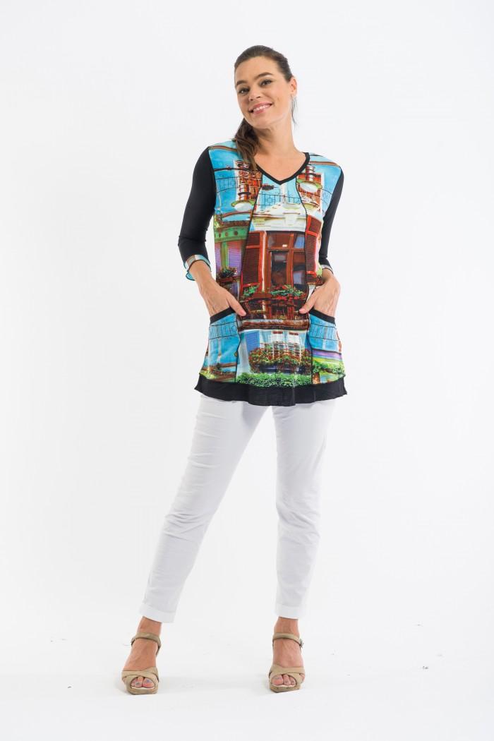 OQ 3 Panel Tunic w Pockets 3/4 Sleeve